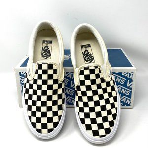Vans Classic Slip On Check Black Canvas Sneakers M